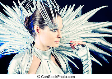 eccentric - Fashion shot of a beautiful young woman over...