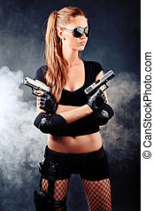 secret agent - Shot of a sexy military woman posing with...