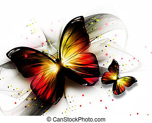 butterflys - two elegant beautiful butterflys on a light...