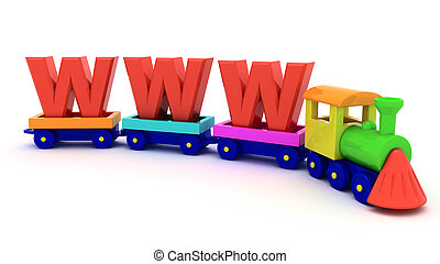 WWW train - Red letters WWW on the toy train
