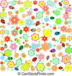 spring background with small flowers and ladybugs