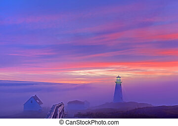 Cape Spear - Foggy sunrise at Cape Spear
