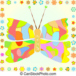 colored Butterfly with flower border on yellow Background