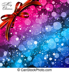 Magic Lights background with bow. Vector