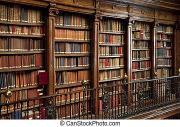 gammal, böcker, bibliotek