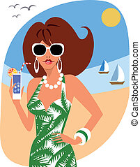 Woman on holiday - Woman with cocktail at the seaside in a...