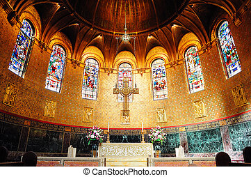 Boston Trinity Church interior view with beautiful pattern...