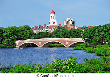 Harvard University campus in Boston - John W Weeks Bridge...
