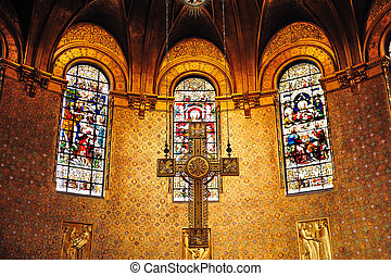 Cross in Boston Trinity Church interior view with beautiful...
