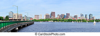 Charles River - Boston skyline panorama over Charles River...
