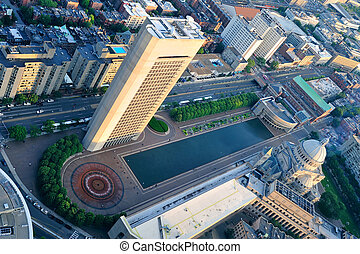 Boston aerial view - Boston city downtown aerial view with...
