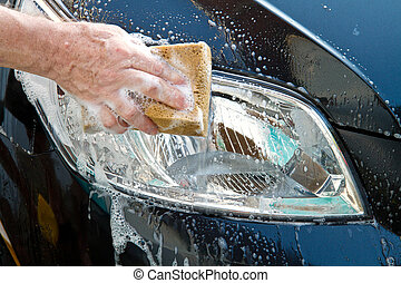 car wash - washing a car