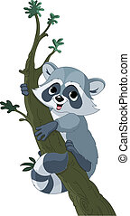 Funny cartoon raccoon on the tree - Illustration of cute...