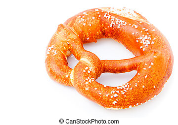 fresh German pretzel (Bretzel) with salt, with copy space.
