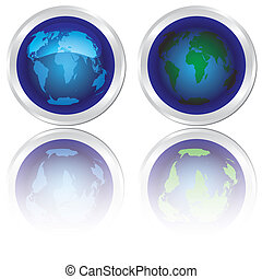 Icons of blue planet Earth