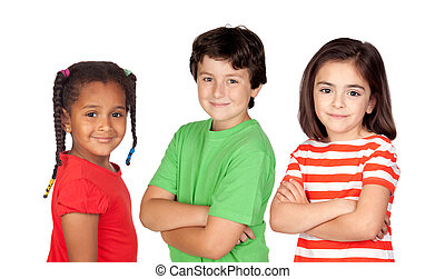 Three beautiful children isolated on a over white background