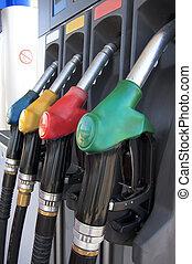 Gas pump nozzles.