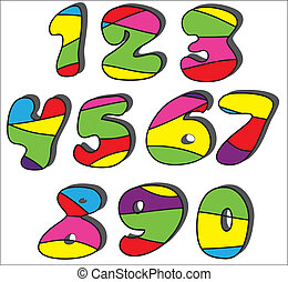 Colorful cartoon numbers set
