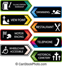 colored tourist locations icon set