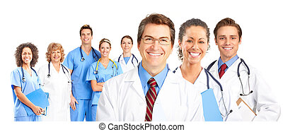 Doctors - Smiling medical doctors team Over white background...