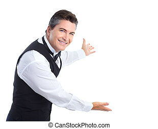 Waiter. - Smiling handsome waiter. Isolated over white...