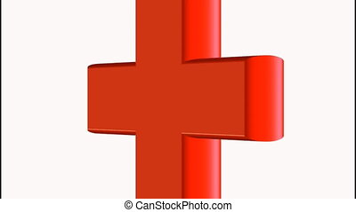 red cross - 3d cross in red rotating on white