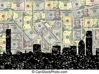 Grunge Boston skyline with dollars