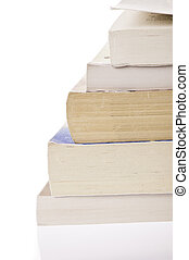 Stack of old books - Stack of five, old discoloured books,...