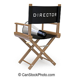 Film directors chair with a megaphone back view Rendered on...