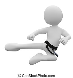 Karate man in combat position III - Image of an isolated...