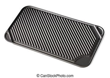 Stovetop grill pan with non-stick ceramic surface isolated...