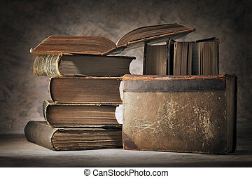 Book Still Life - Still life made of old worn books.