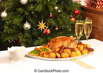 Christmas Dinner - A platter containing a christmas dinner...