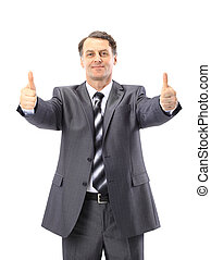 business man going thumb up, isolated on white