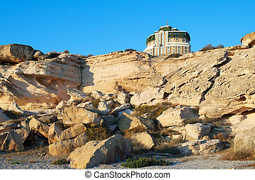 Aktau. - View of the cliffs by the sea in splendid Aktau.