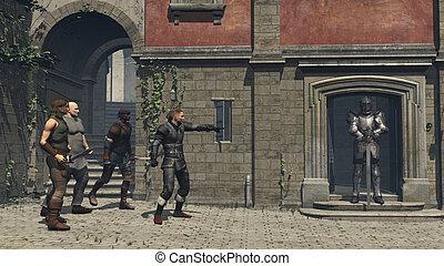 中世, ファンタジー, 通り, ギャング