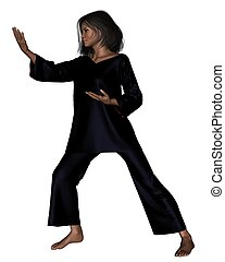 Tai Chi Woman - 1 - Young Asian woman in loose fitting silk...