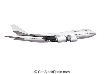 commercial airplane with path - commercial airplane on white...