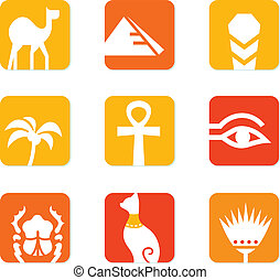 Egypt icons and design elements block isolated on white -...