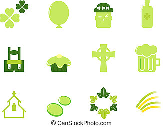 Irish & Saint Patrick's Day icons and elements isolated on white