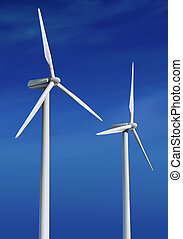 white wind turbines ll - white wind turbine with path...