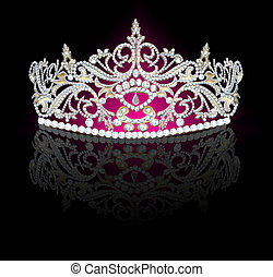 diadem feminine with reflection on black - illustration...