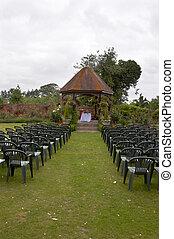 Wedding alter - A wedding alter with a a gazebo in a garden...