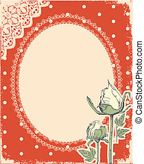 Vector vintage background with vintage frame and roses