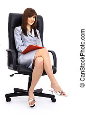 contemporary office chair and businesswoman