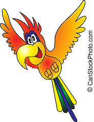 Merry flying parrot insulated on white background