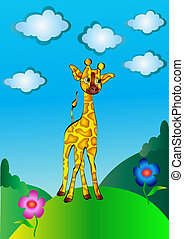 nursery nice giraffe on nature - illustration nursery nice...