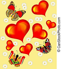 background with heart butterfly and flower