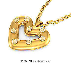 heart-shaped pendant with diamonds on a white background