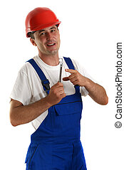 Craftsmen with safety helmet holding a wrench